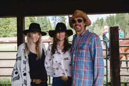 Greenhorn Ranch guests posing for a quick snapshot at the stables