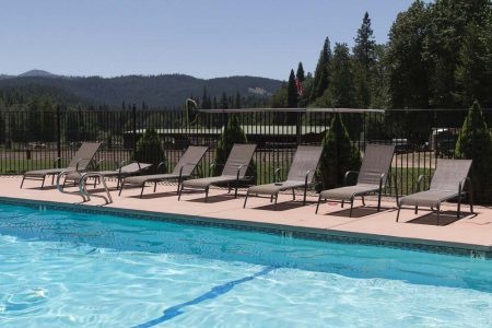 Lounge chairs lined up and ready for lounging next to the pool near the pine forest at Greenhorn Ranch