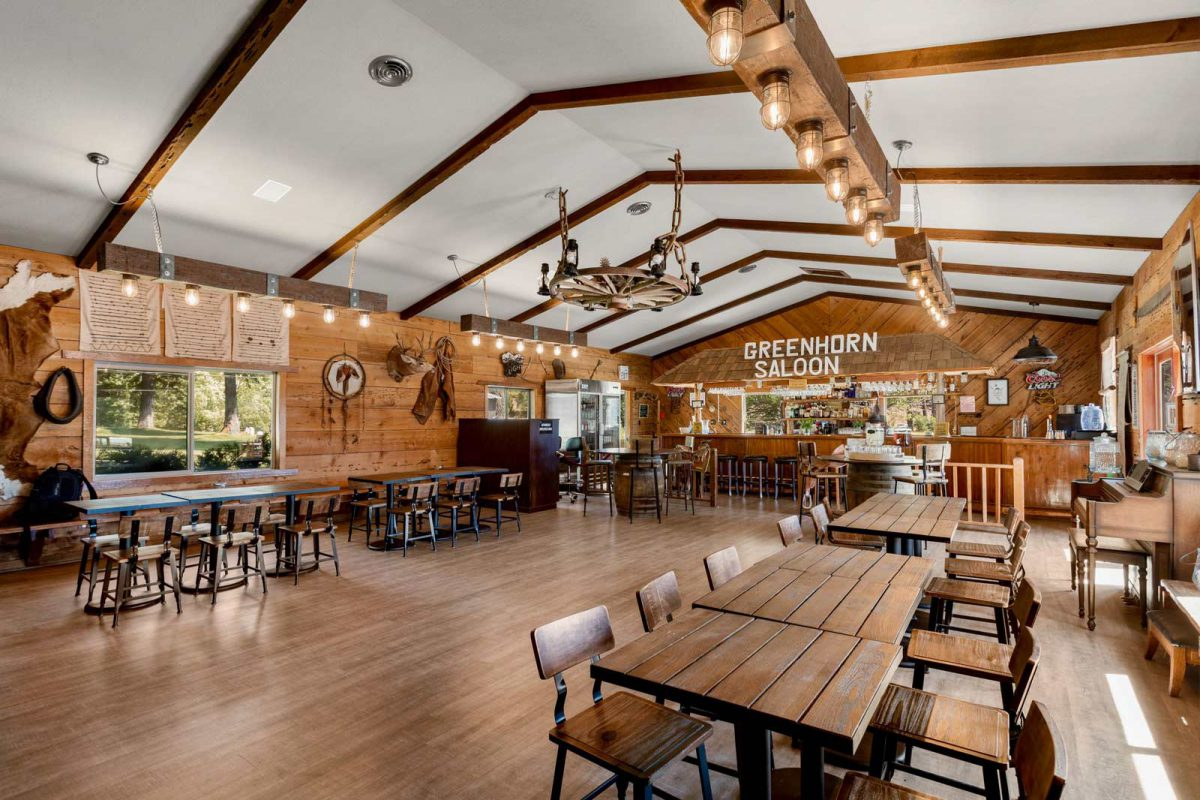 The inside of the Greenhorn Saloon at Greenhorn Ranch in California