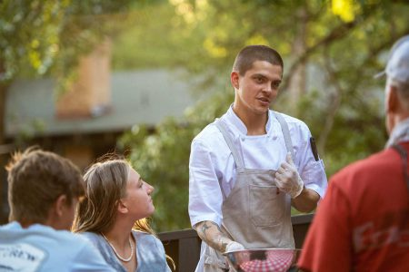 Chef at Greenhorn Ranch talking with guests at Greenhorn Ranch