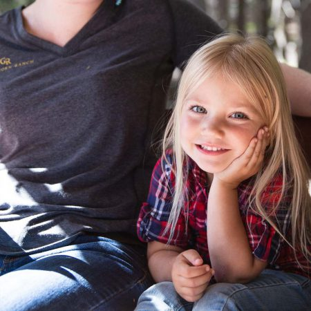Kids Activities at Greenhorn Ranch - a little smiling girl with her hand on her cheek