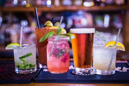 A delicious assortment of cocktails on the bar at Greenhorn Ranch
