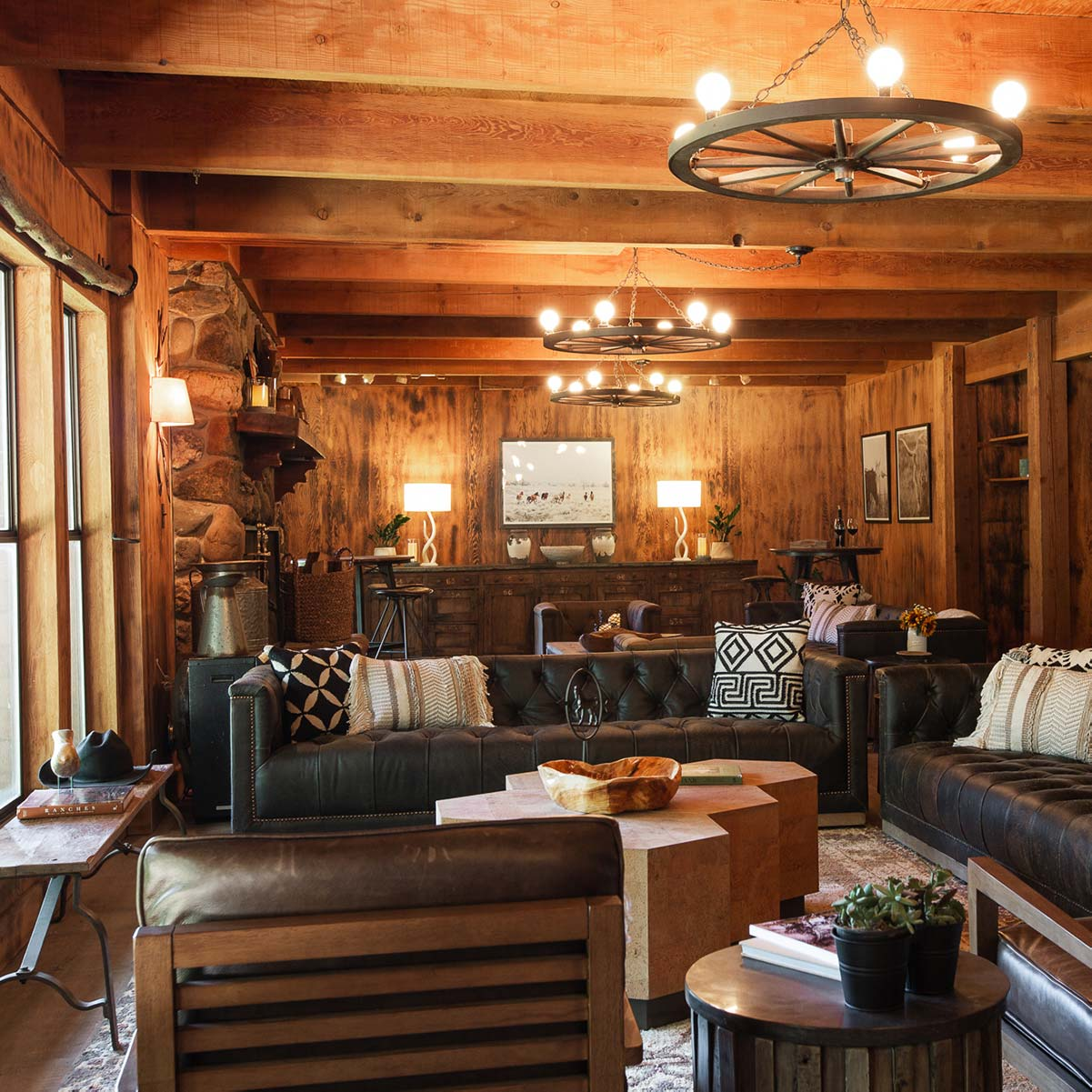 The warm interior of the main lodge at the Greenhorn Ranch