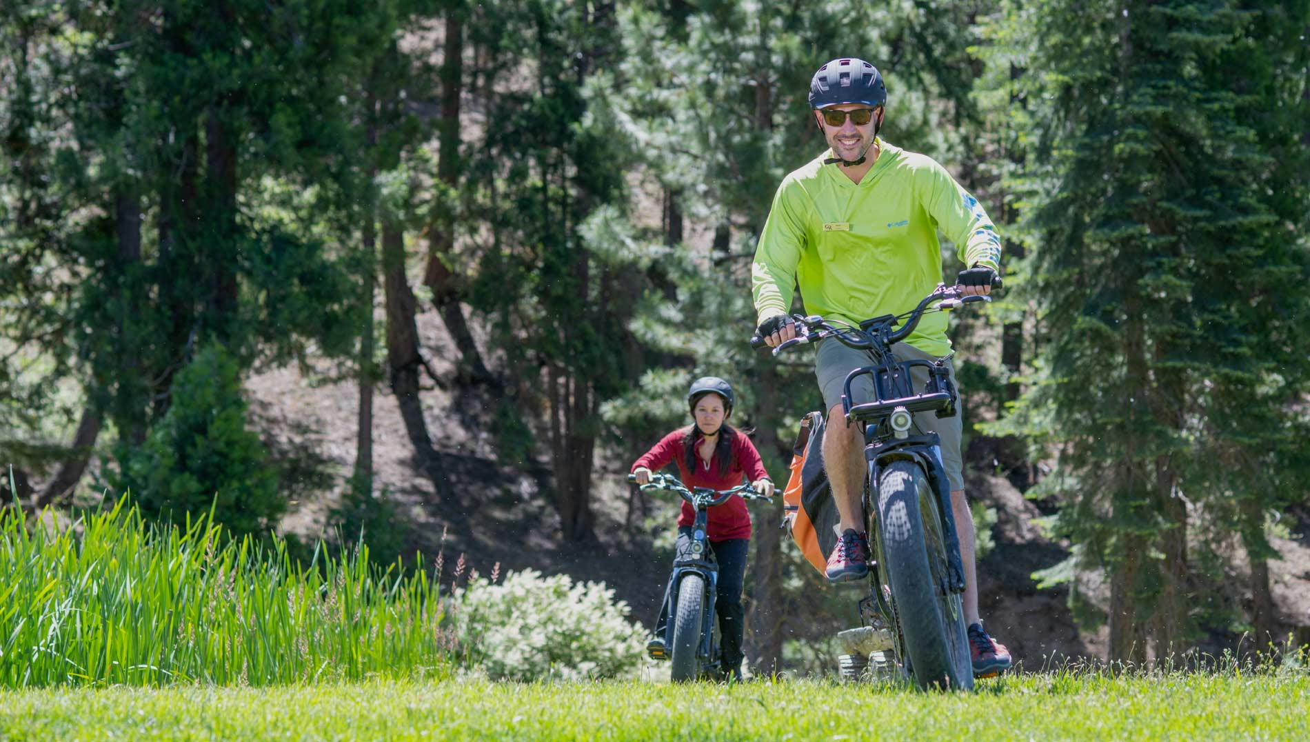 Cycling on Electric Mountain Bikes at Greenhorn Ranch in California