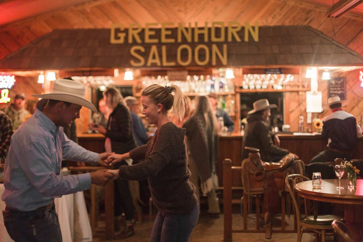 People dancing at the Greenhorn Saloon at Greenhorn Ranch