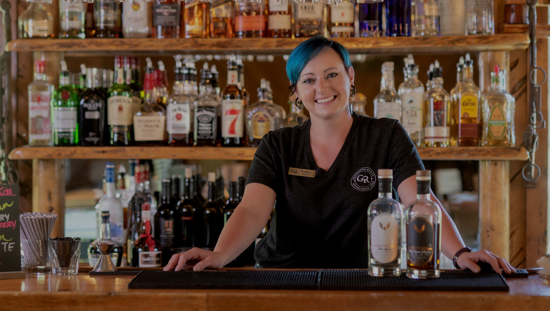 Our bartender ready to mix your favorite cocktail at Greenhorn Ranch