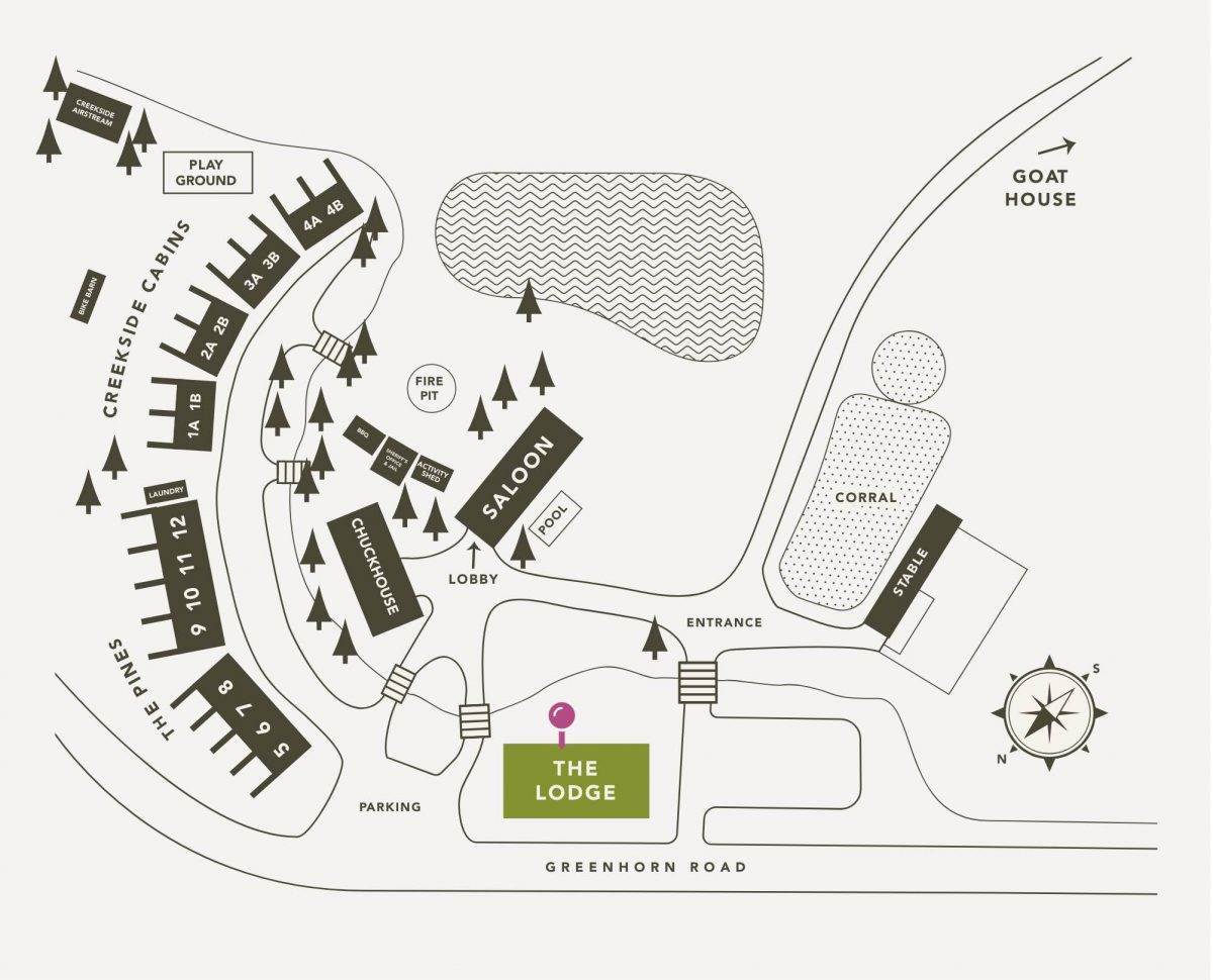 Lodging Map for Greenhorn Ranch highlighting The Lodge