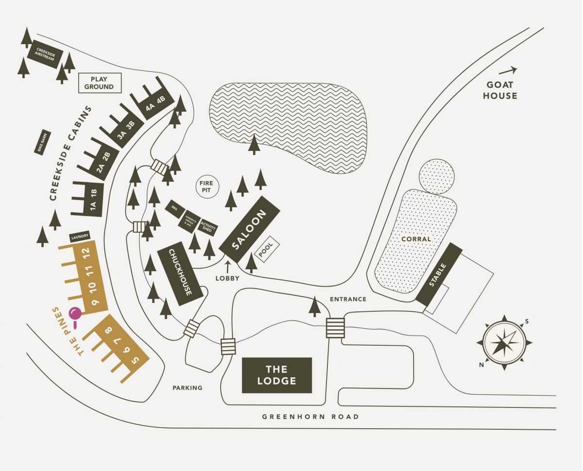 Lodging Map for Greenhorn Ranch highlighting The Pines Cabins