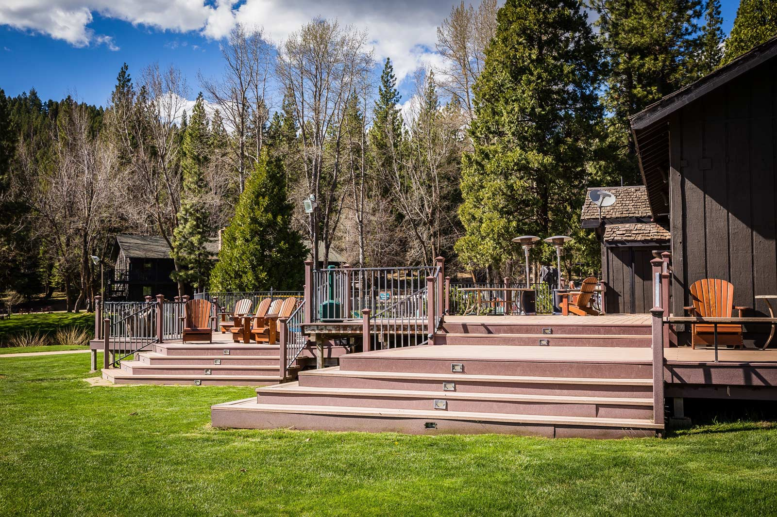 The deck outside the dining hall and saloon at the Ranch