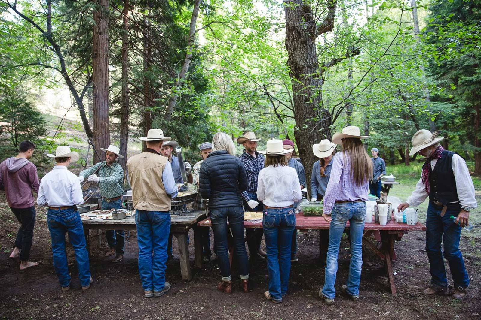 Guests filling their plates at the Ranch