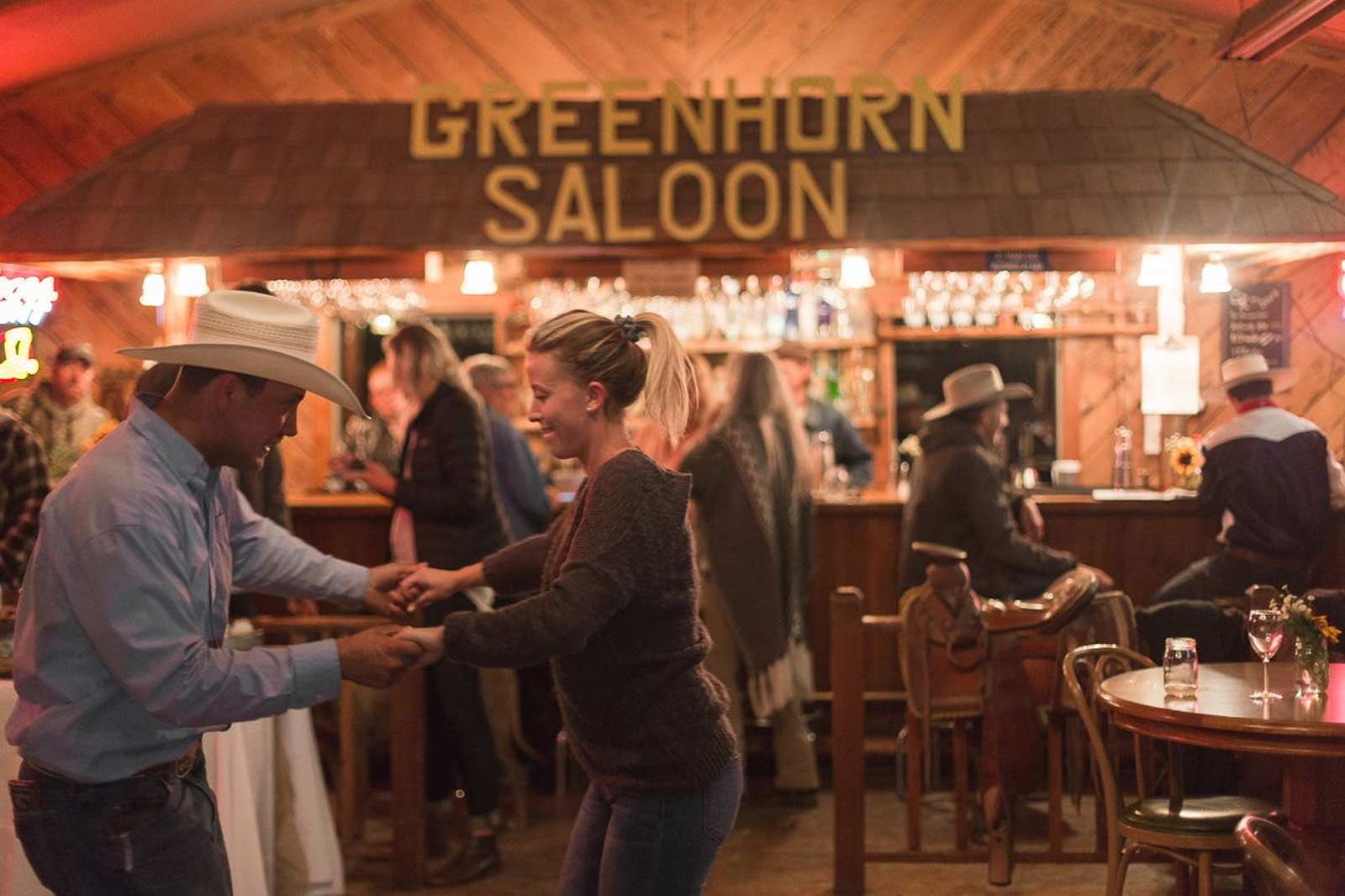 Couples dancing in the saloon and dance hall at Greenhorn