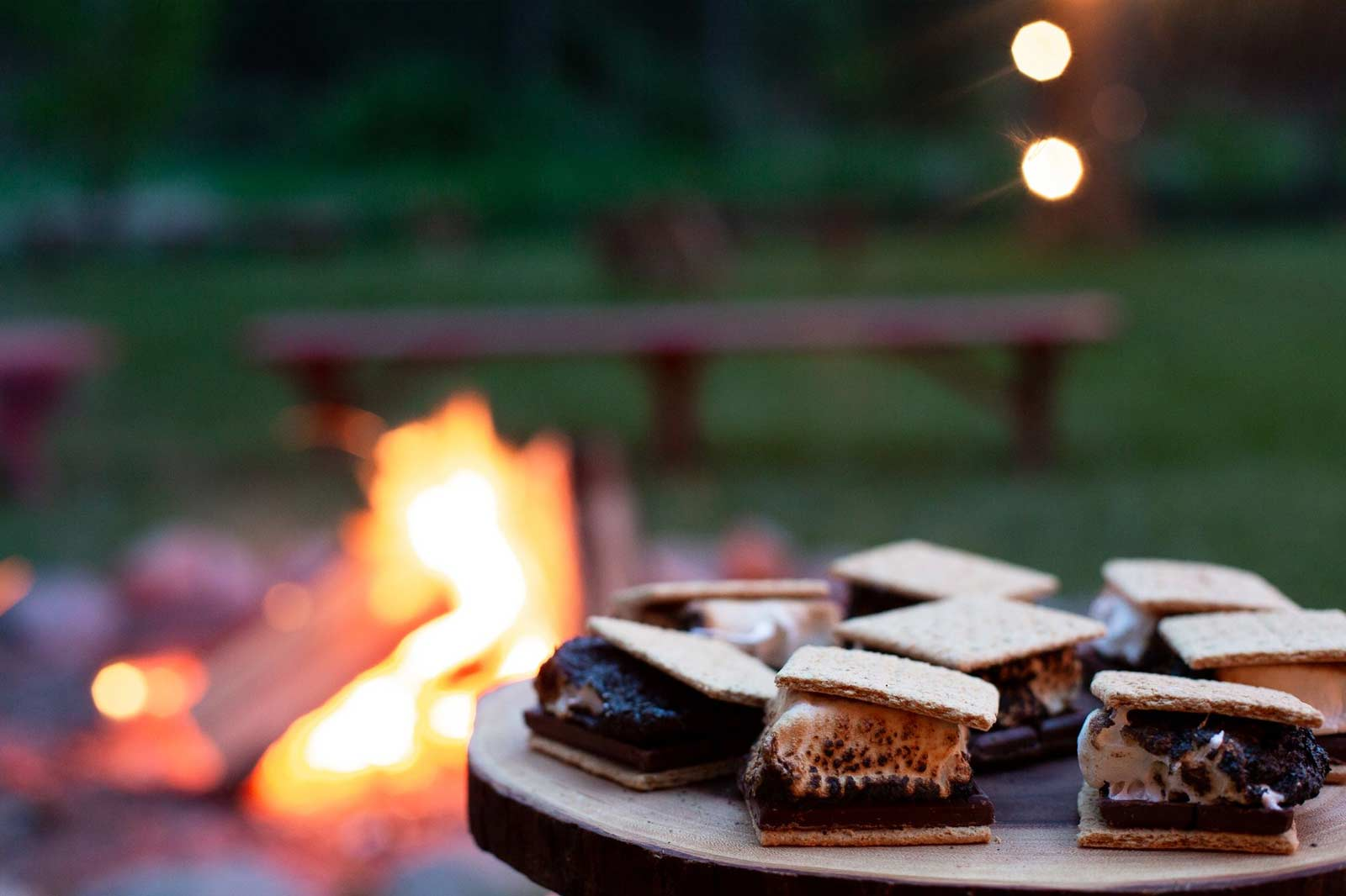 S'mores plated at the campfire