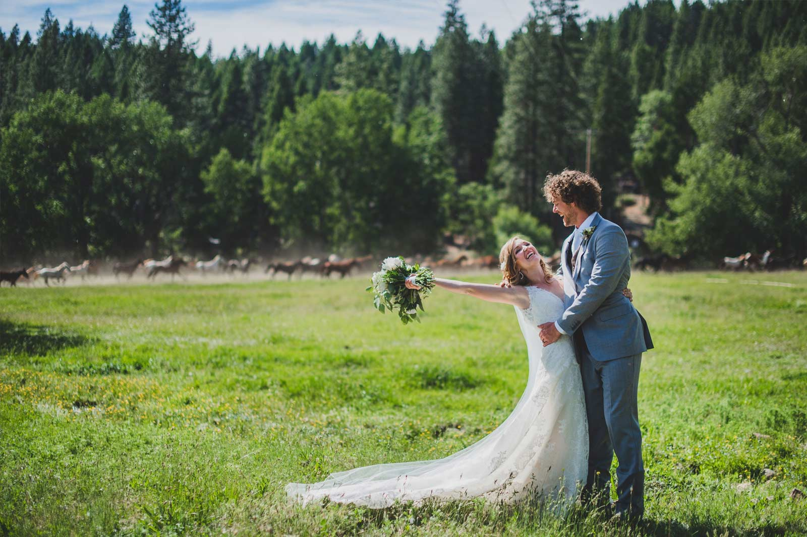 A bride and groom posing for photos outside on the green grass with tall pine trees and horses in the background