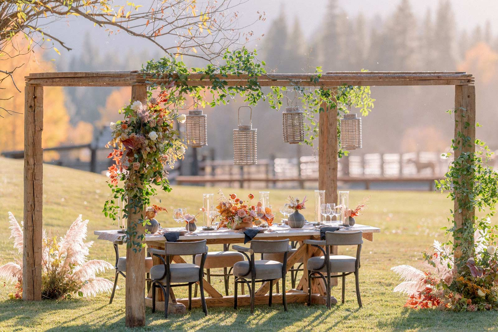 a wedding party table set outside at Greenhorn Ranch
