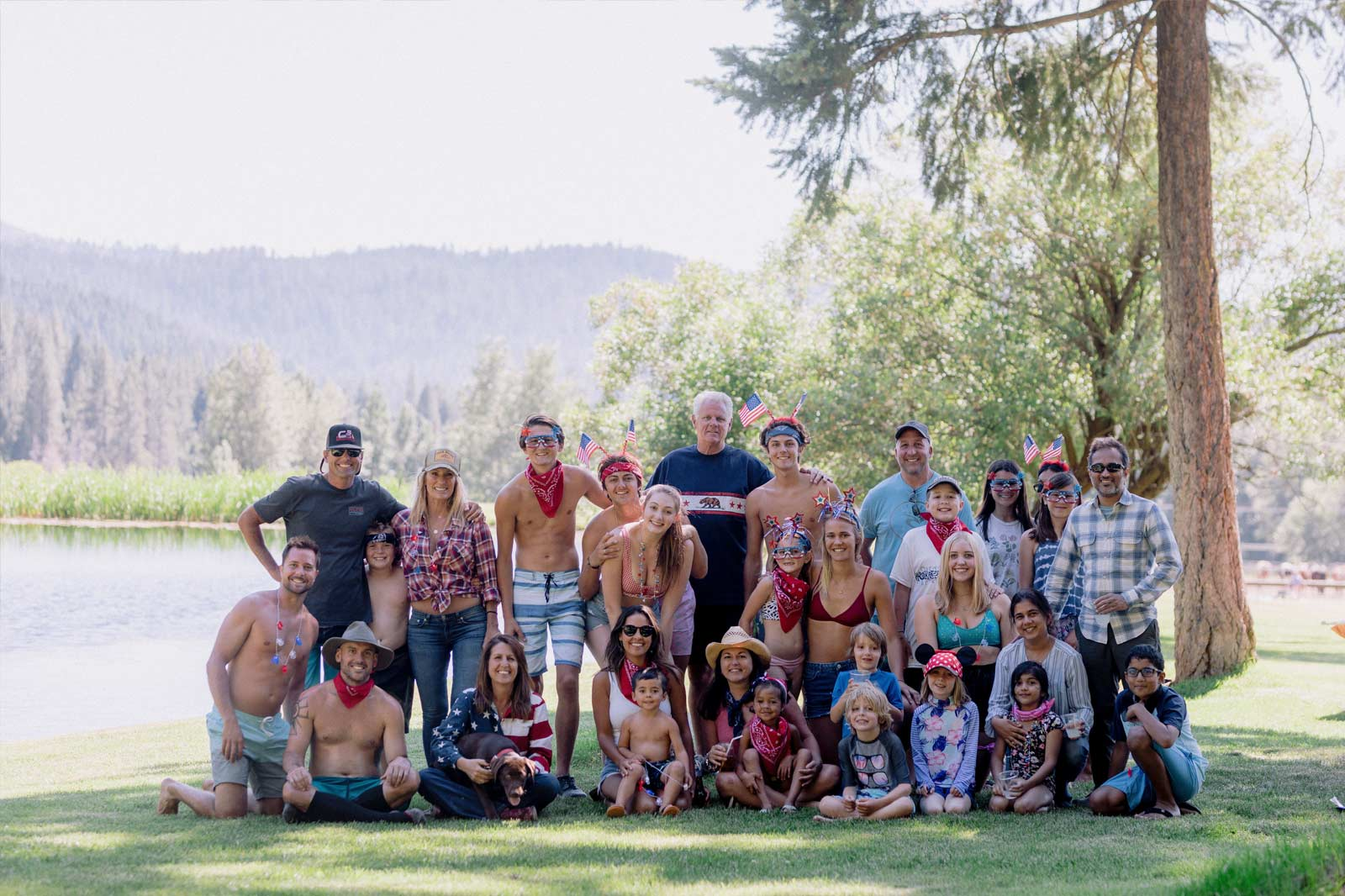 A large family celebrating the 4th of July at Greenhorn Ranch