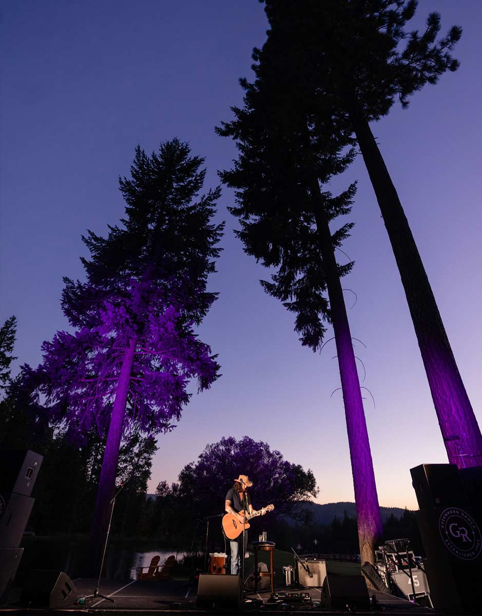 A musician on stage in front of tall pine trees silhouetted against the twilight sky in the Sierras