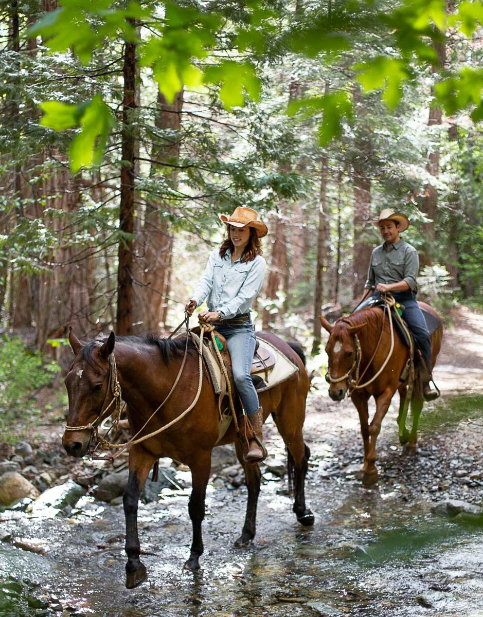 Horseback riding through the forest at Greenhorn Ranch