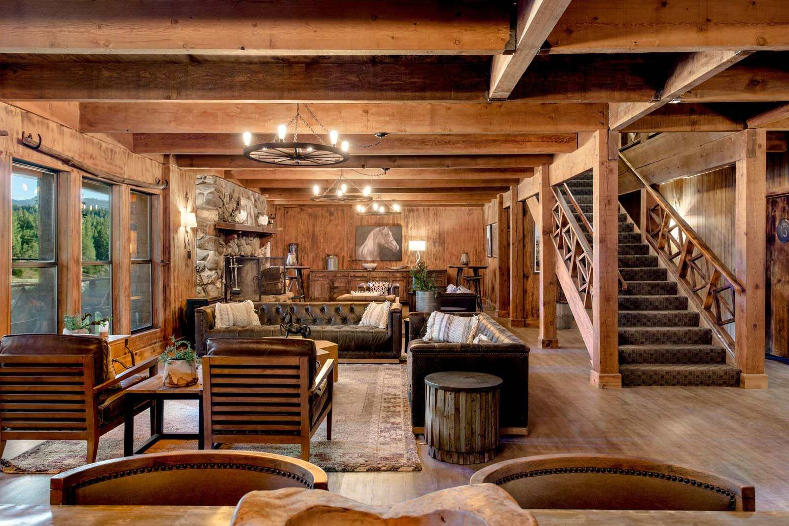 Interior of the beautiful rustic Greenhorn Ranch Lodge.