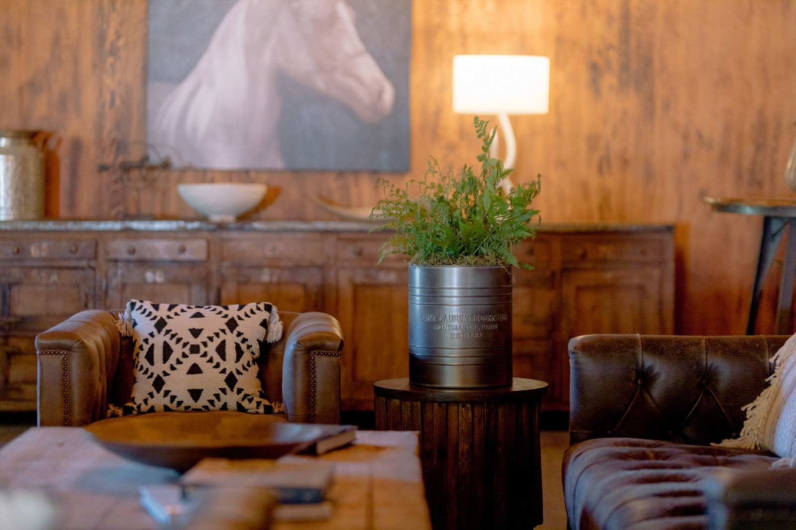image of room with leather sofas coffee table and green plant with painting of horse in background