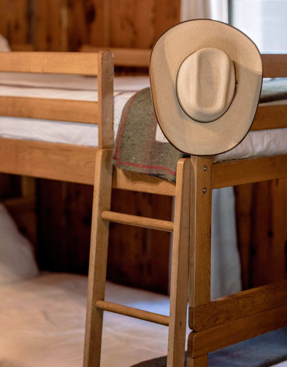 Detail shot of the bunkroom in the Pines Cabin at Greenhorn Ranch
