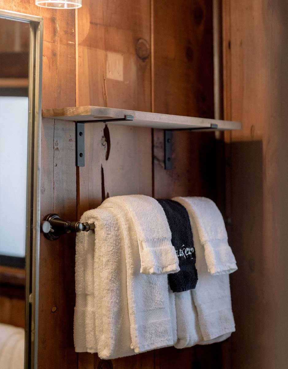 detail image of luxury towels hanging in bathroom