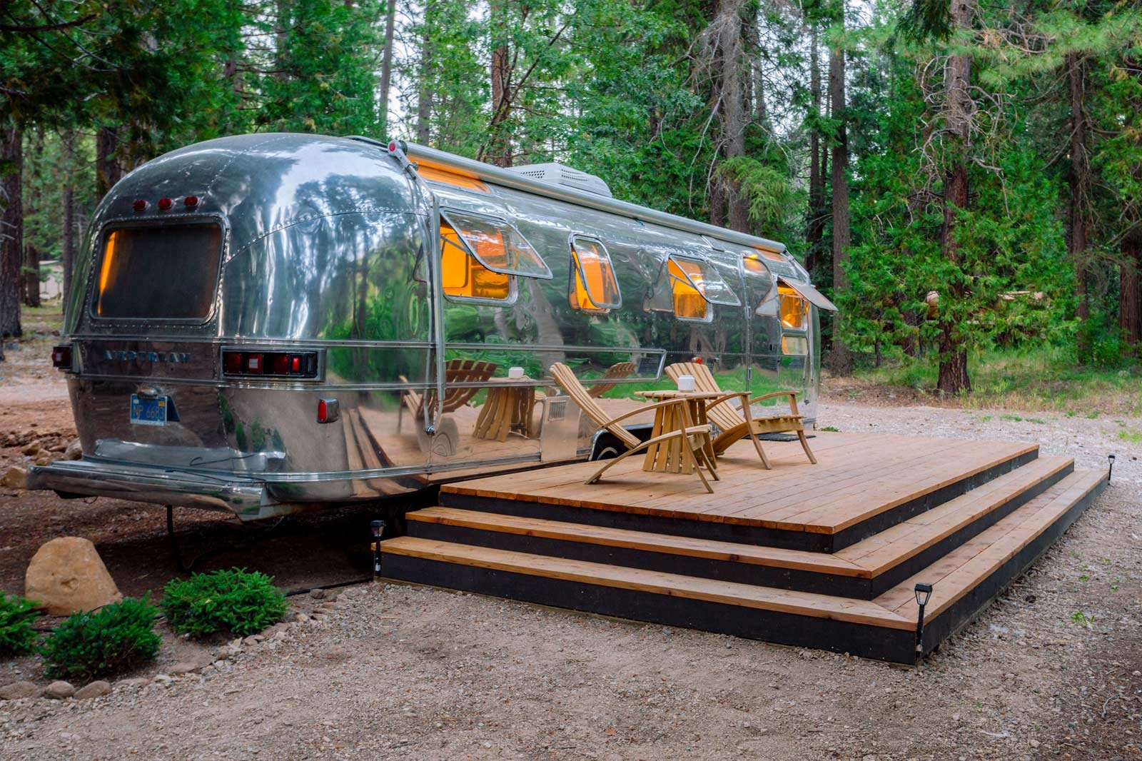 image of 1972 luxury airstream with wood porch